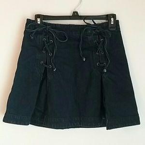 Dark Wash Free People Lace Up Denim Skirt sz 6